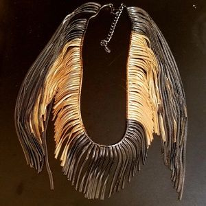 Signed Zara Fringed Gold and Pewter Necklace